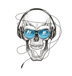 smiling skull listening a music in headphones vector image