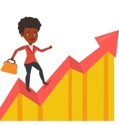Happy businesswoman running on profit chart vector