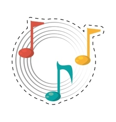 Note musical melody sound dotted line vector