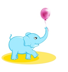 Cute elephant with ballon vector