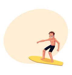 Young man riding surfboard enjoying summer water vector