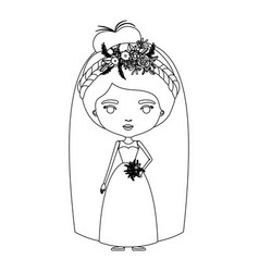 Silhouette caricature cute woman in wedding dress vector