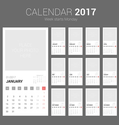 2017 calendar planner design with space vector