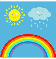 Cartoon sun cloud with rain and rainbow set vector