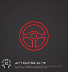 steering wheel outline symbol red on dark vector image