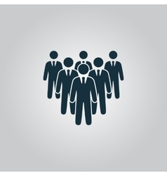 Leader standing in front of corporate crowd vector