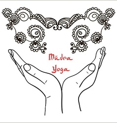 Element yoga mudra hands with mehendi patterns vector