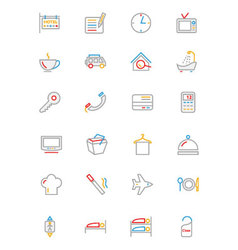 Hotel and restaurant colored line icons 1 vector