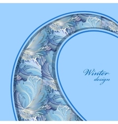 Blue curl design winter frozen glass background vector