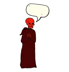 Cartoon spooky skeleton in robe with speech bubble vector