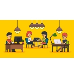 People work in office design flat vector