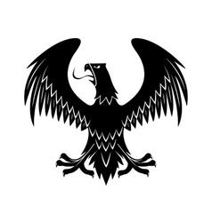 Black eagle with extended wings heraldic icon vector