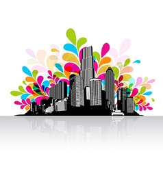 Abstract sky with city scape vector