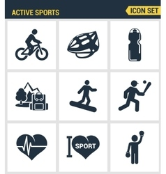 Icons set premium quality of active sports love vector