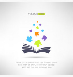 Book icon with puzzle pieces flying from it vector image