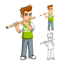 Boy Playing Flute Cartoon Character vector image vector image