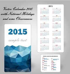Calendar usa holidays blue vector