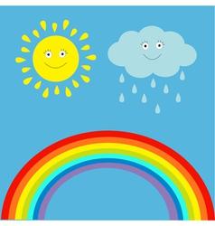 Cartoon sun cloud with rain and rainbow set vector image vector image