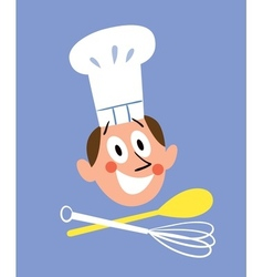 Chef with kitchen tools vector