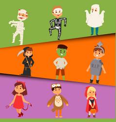 Cute kids wearing halloween party costumes vector