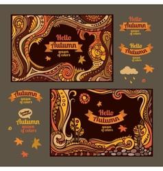 Decorative autumn cartoon cards design vector