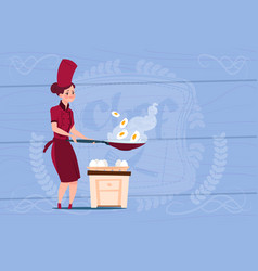 Female chef cook frying eggs cartoon chief in vector