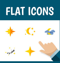Flat icon night set of asterisk bedtime midnight vector