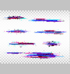 glitch color elements set digital noise abstract vector image