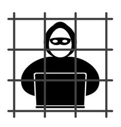 hacker in prison vector image