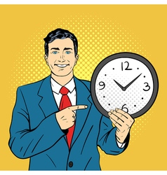 hand drawn pop art of businessman holding wall vector image vector image