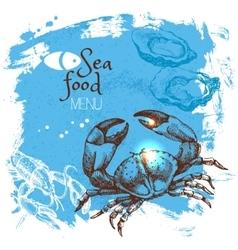 Hand drawn sketch seafood sea vector