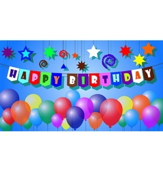 happy birthday with text and balloons vector image