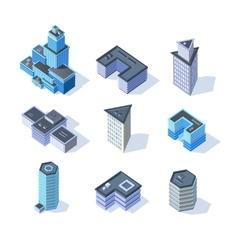 Isometric business city center buildings set vector