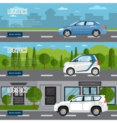 Logistics horizontal flyers with car on road vector