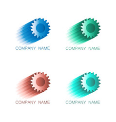 logo symbols cogwheel in colors vector image