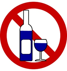 No bottle and glasse sign vector image