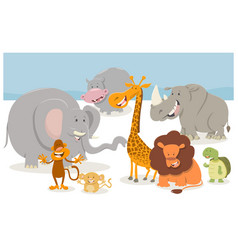 safari cartoon animal characters vector image vector image