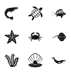 Sea nature icons set simple style vector