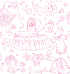 Seamless background is a girl with toys doodles vector image vector image