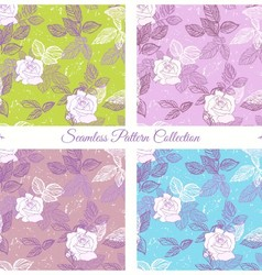 Seamless pattern set with roses vector image