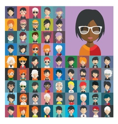 Set of people icons in flat style with faces 21 a vector image