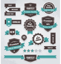 set of retro labels buttons and icons vector image