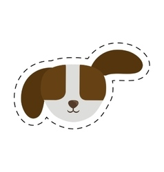 Small puppy dog pet line dotted vector