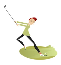 Smiling golfer playing golf vector image vector image