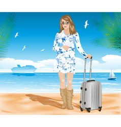 Stylish Travelling Lady with a Suitcase vector image vector image