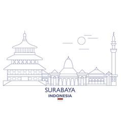 surabaya city skyline vector image vector image