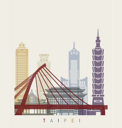 Taipei skyline poster vector