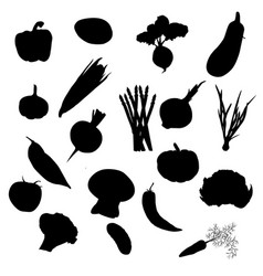 Vegetables icons set black silhouettes vector