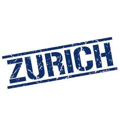 Zurich blue square stamp vector