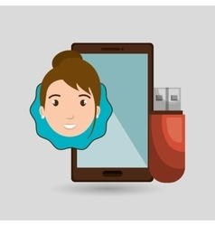 Person smartphone usb graphic vector